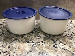 Used items include the chip n dip set, strainer with lid, 3 canister set with lids, and measuring bowl with lid. Vintage Used Tupperware One Touch Coffee House Canister Set For Coffee Filters 7 99 Picclick