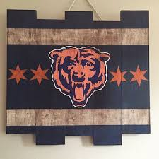 chicago bears large wooden stained flag handpainted footbal