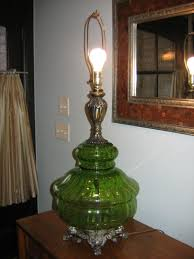swag lamp and table lamp vintage retro pair green glass falkenstein