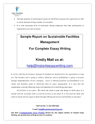 sample report on sustainable facilities management by instant essay w  7