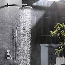 bathroom shower heads. Bath :: Shower Sets SR SUN RISE 10 Inch Bathroom Luxury Rain Mixer Combo Set Wall Mounted Rainfall Head System Brushed Nickel Finish(only Heads A