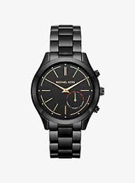 watches for women rose gold silver black michael kors slim runway black tone hybrid smartwatch