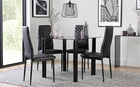 gallery nova square black glass dining table with 4 renzo black chairs