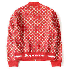 supreme シュプリーム 17a w x louis vuitton monogram leatherette jacket leather baseball jacket red 52