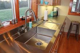 Stainless steel sinks and counters Metal Custom Drainboard Sink And Stainless Steel Countertop All One Piece Love Retro Renovation Stacias Onepiece Custom Kitchen Stainless Steel Sink And Counter