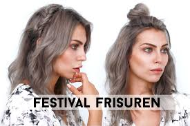 Festival Frisuren Boho Halboffen F R Mittellange Haare