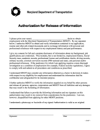 Authorization for Release of Information I (please print your name) desire  to obtain employment