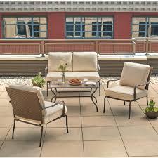 pin oak 4 piece wicker outdoor patio conversation set with oatmeal cushions