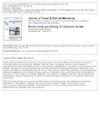Pdf Online Travel Purchasing A Literature Review