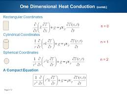 13 page 13 one dimensional heat conduction contd rectangular coordinates cylindrical coordinates spherical coordinates a compact equation n 0 n 1
