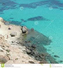 Isola Het Strand Van Deiconigli In Lampedusa Redactionele Stock