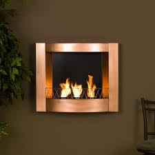 fantastic wall mounted gel fuel fireplace with painted copper finish and three cans