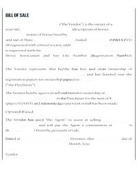 Equine Bill Of Sales Horse Sale Contract Template Equine Bill Of Sale Template Unique