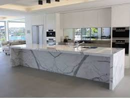 white kitchen counter.  Kitchen Calcutta Marble Countertops In A Modern White Kitchen Pertaining To Prepare  6 And Counter