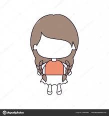 おさげの髪の編みこみライトブラウンと顔のない少女のシルエット カラー