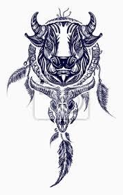 Fototapeta Tribal Býk A Sencatcher Umění Tetování Indický Sněhový Lovec