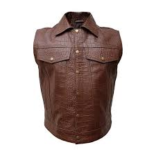 mens brown alligatorcrocodile print leather waistcoat motorcycle bikers vest jacket 1