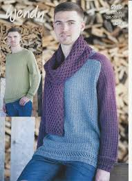 Men's Sweater Patterns Amazing Wendy Mens Sweaters And Scarf Knitting Pattern In Pixile DK 48