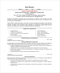 sample personal assistant resume sample executive assistant resume 8 examples in word pdf