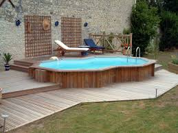 Exterior Design, Small Above Ground Pool Deck With Wooden Fence And Wooden  Outdoor Chaise Lounge ...