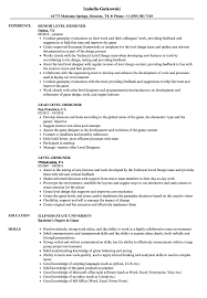 Level Designer Resume Samples Velvet Jobs