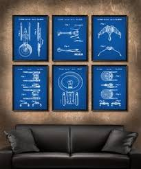 set of 6 star trek spaceship posters vintage patent illustration art print canvas wall art decor battle cruisers star trek gift s663 on star trek lighted canvas wall art with star trek logo watercolor illustration art wall decor wall hanging