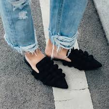 hot ing street fashion celebrity flat mules pom pom embellished black suede leather pointy slippers shoes women boots high heel shoes from