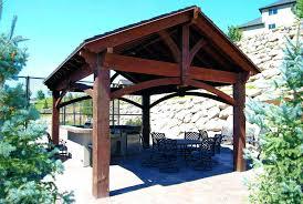 patio cover kits costco gazebo cedar pavilion regal gazebos shingles roof pergola kit in backyard