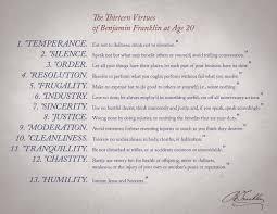 Ben Franklin S Virtue Chart Ben Franklins Virtues And Self Improvement Planplusonline Com