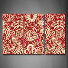 3 piece wall art painting pattern red paper cut pattern picture