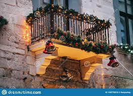 Balcony Lights Stylish Christmas Decorations Red Jingle Bells Lights Fir