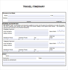 Travel Itinerary Template 5 Download Documents In Pdf Word