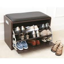 brown color small wood shoe holder bench with drawer shoe storage and black leather seat ideas