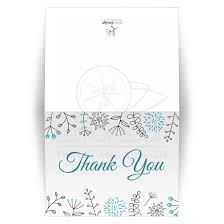 Modern Aqua Blue Flower And Nature Doodle Folded Thank You Card