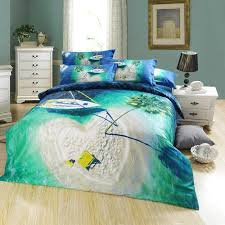 designer travelling scenic oil painting bedding bed linens egyptian cotton queen size 4 comforter bedding sets with boat tree printing best duvet covers
