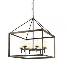 smyth 6 light chandelier in metal bronze with opal glass