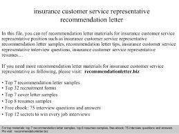 Letter Of Recommendation Customer Service Insurance Customer Service Representative Recommendation Letter