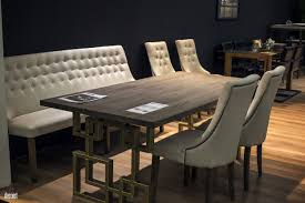 modern dining table with bench. Modern Cushioned Bench And Leather Chairs For The Chic Dining Room View In Gallery Table With