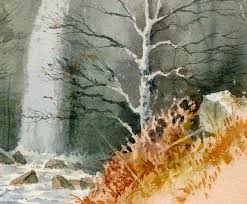 the picture shows part of a painting mainly completed out of doors it reveals a number of negative painting examples the trunk and branches of the birch