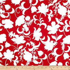 Black and White Gramercy Floral Red/White - Discount Designer Fabric -  Fabric.com