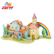 Four Pieces Of Scene Graph Paper Model Rainbow House 3 D Puzzles In