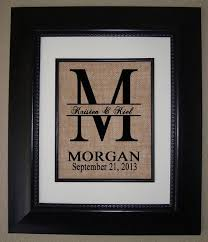 personalized monogram burlap print wedding gift housewarming gift annivers we know how to do it