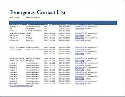 Family Contact List Template Emergency Contact List Template At Wordtemplatesbundle Com