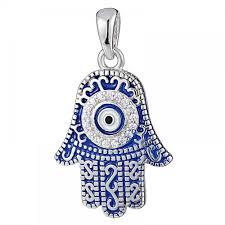 925 silver dark blue enamel fatima hand round evil eye pendant pd0010