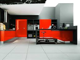 black and red kitchen designs. Remarkable Black And Red Kitchen Cabinets On White Ceramic Floor Tiled As Decorate In Opened Modern Plans Interior Designs