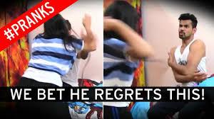 Man plays cruel prank on horrified girlfriend by pretending he is.