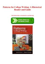 Patterns For College Writing Pdf Beauteous Epub Kindle Patterns For College Writing A Rhetorical Reader And