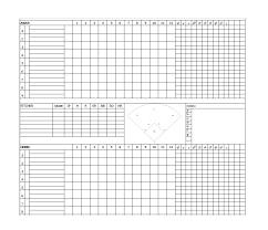 Baseball Game Scorecard 30 Printable Baseball Scoresheet Scorecard Templates