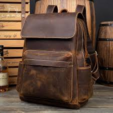 lapoe genuine crazy horse leather backpack men vintage hombre teenage backpack travel bag school hombre moda bookbags backpack purse from smart78