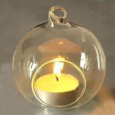 glass round hanging candle tea light holder candlestick party home with beautiful glass tea light holders